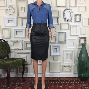 Evan Davies | Vintage Black Leather Pencil Skirt